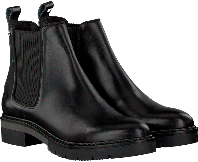 Black TOMMY HILFIGER Chelsea boots METALLIC LEATHER CHELSEA BOOT - large