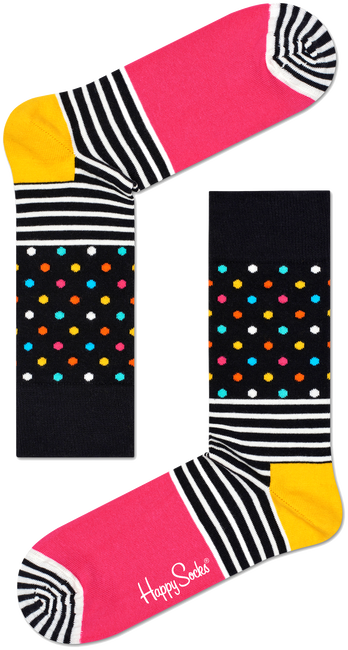Black HAPPY SOCKS Socks STRIPES & DOT SOCK - large
