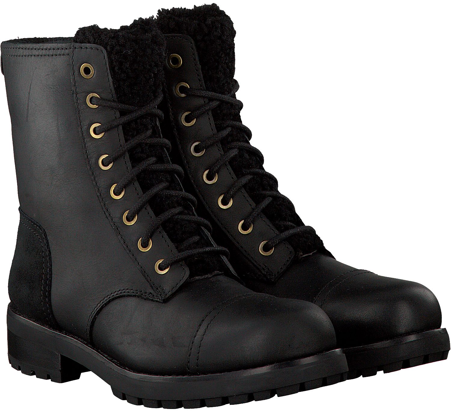1a942e2694f Black UGG Lace-up boots KILMER EXPOSED FUR - Omoda