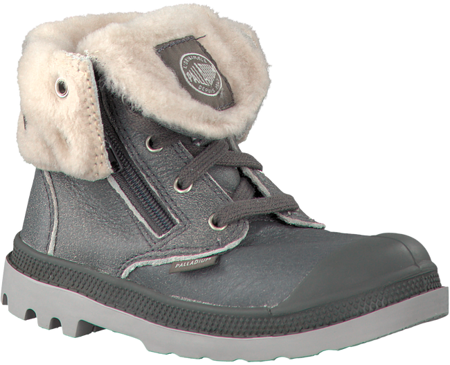 Grey PALLADIUM Ankle boots BAGGY LEATHER ZIP KIDS - large