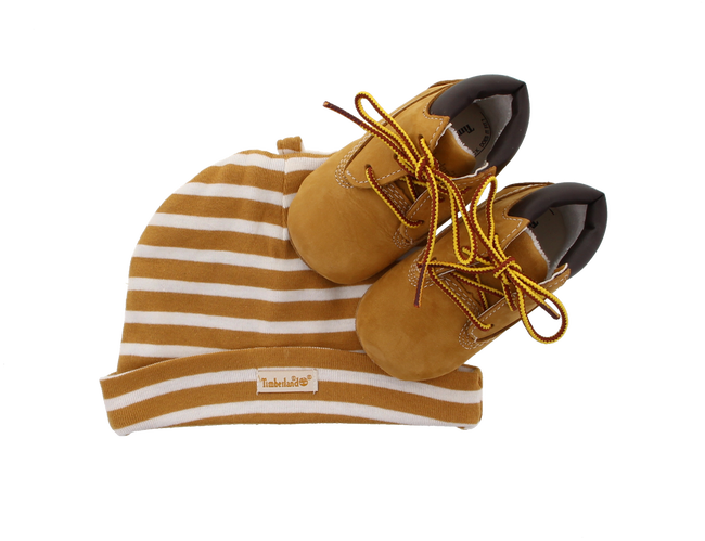 Camel TIMBERLAND Baby shoes CRIB BOOTIE W/HAT - large