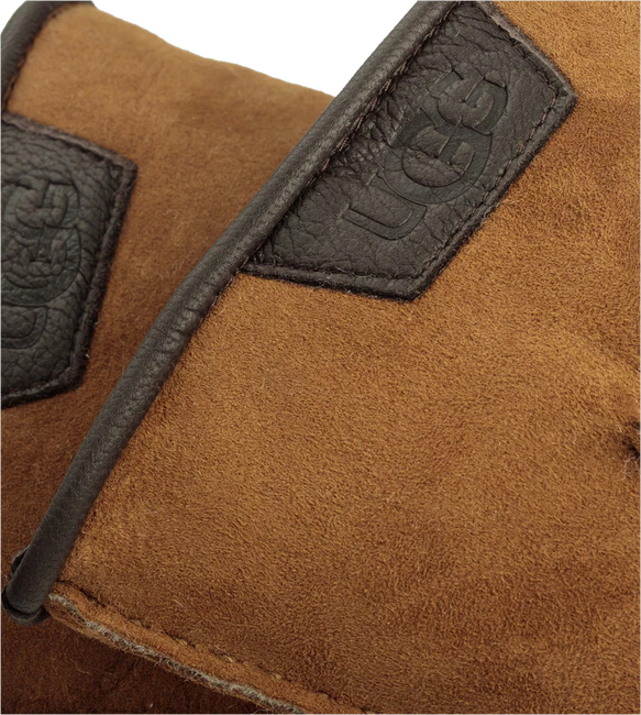Cognac UGG Gloves CASUAL GLOVE WITH LEATHER LOGO - large