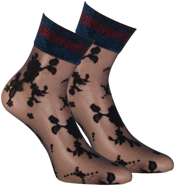 Black MARCMARCS Socks FLOWER LUREX CUFF - large
