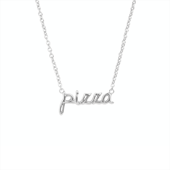 Silver ALLTHELUCKINTHEWORLD Necklace URBAN NECKLACE PIZZA - large