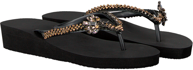 Black UZURII Flip flops GOLD FLY MH - large