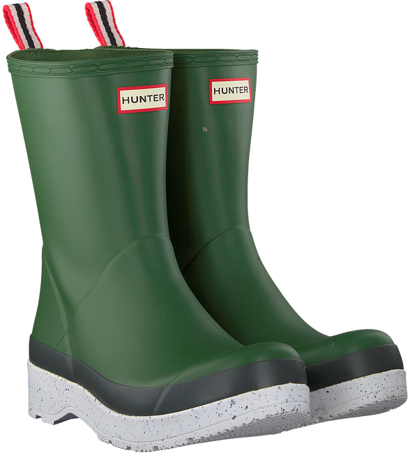 Green HUNTER Rain boots MENS PLAY MID SPECKLE SOLE WEL  - large