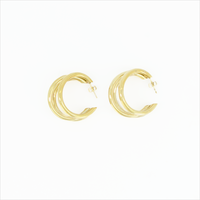 Gold NOTRE-V Earrings OORBEL DRIE RINGEN  - medium