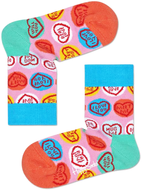 Pink HAPPY SOCKS Socks SWEET HEART  - large